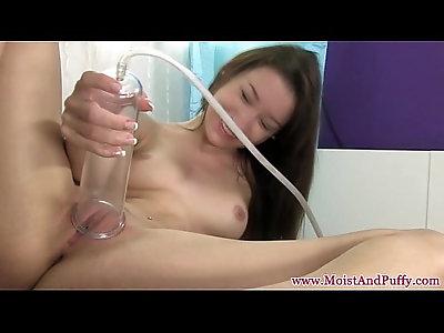 Bigtaco stripteasing babe with strapon dildo