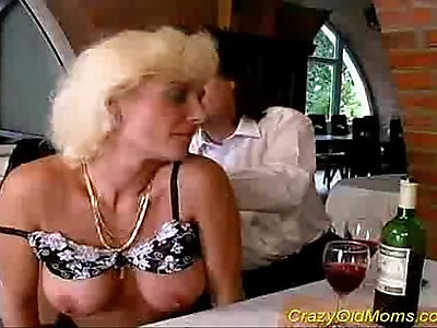 Crazy old mom gets spotted and fucked really hard