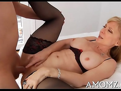 Hot mom groans with fucking