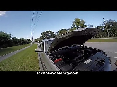 Busty Babe Gets Towed, Fucked And Paid!