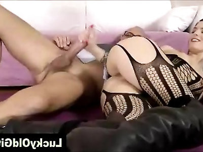 Older guy fucks young girl in boots and cat suit