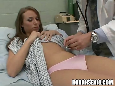 Brunette babe gets felt up by doctors before giving blowjob