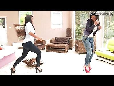 Amazing brunettes in jeans Aysha Rouge Maria Fiori