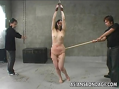 Asian chick is tied up and caned hard