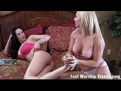 Sexy red panty foot worship