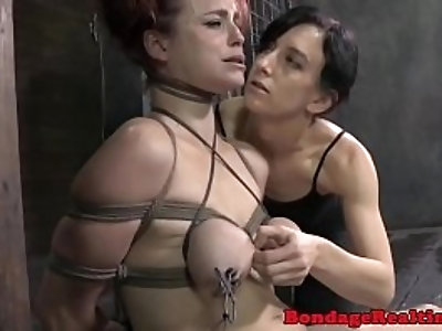 BDSM titty tortured Bella Rossi caned