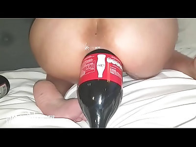 Giant Cola Bottle Rammed Up Her Ass