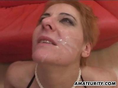 German amateur brunette Milf group sex action with facials