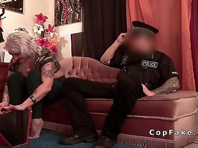 Blonde alt Milf takes cops big dick on the sofa