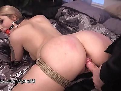 Dude fucks stripper in rope bondage