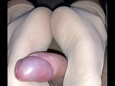 homemade nylon footjob with huge cumshot
