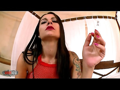 Delicious hand blow job while smoking by a mature with big boobs