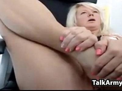 Horny mom masturbates and squirts