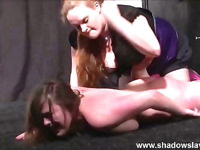 Lesbian beating and kicking of humiliated cunt busting slave Taylor Heart by hea