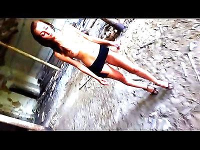 Skinny BDSM pornstar Katy Rose posing before getting belt whipped