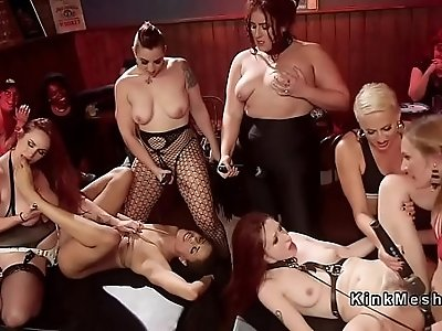 Anal strap on orgy lesbian fucking in bar