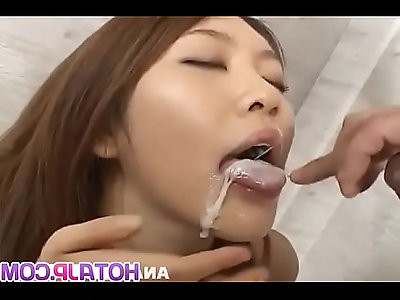 Rio Sakaki sucks and rides cock with passion then swallows More at hotajp