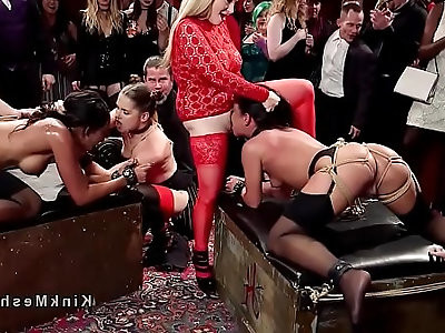 Nasty anal slaves rode at orgy party